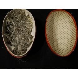 Gamle svampe i presset vat med knust glas, h: 8,5 cm.