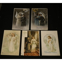 5 antique card with angels,...