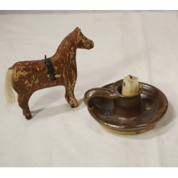 Old pottery, candlestick, size: 5 x 11 cm.