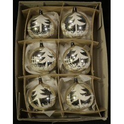 Box of old glass ornaments,...