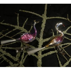 Old glass ornaments, birds,...