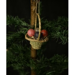 Antique candy container, basket with fruits, h: 7,5 cm.