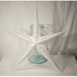 Tall, white star in thick cardboard, h: 66 cm.