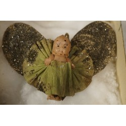 Old cardboard/crepe ornament, heart and a doll, size: 7 x 9 cm.