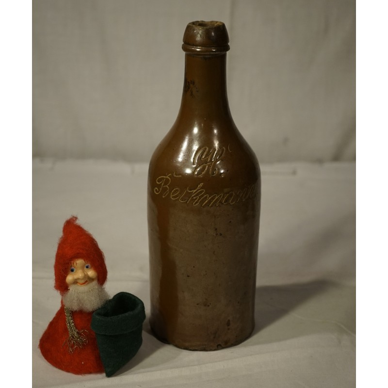 Old pottery, bottle with name, h: 26,5 cm  - Susannef dk