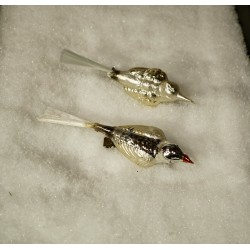 Old glass ornament, birds with wide back, l: 12 - 14 cm. (1)