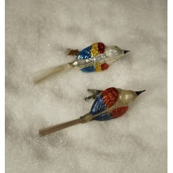 Old glass ornament, birds with wide back, l: 12 - 14 cm. (3)