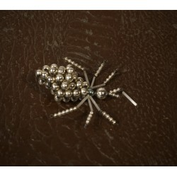 Old glass ornament, insect/silver, h: 9 cm.