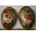 Antique easter cardboard egg, roses/silver, h: 20 cm.