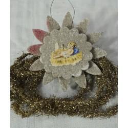 Old cardboard ornament, christ child, h: 7 cm.