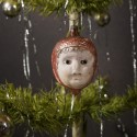 Antique glass ornament, girls head with glass eyes, h: 8,5 cm.