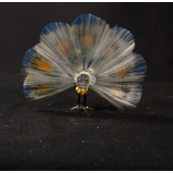 Old glass ornament, Lauscha, peacock, size: 11 x 13 cm.