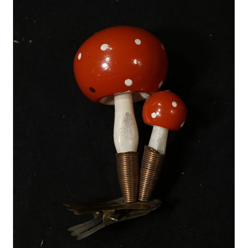 Old glass ornament, double mushroom on clips, h: 8,5 cm.