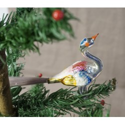 Old glass ornament, bird, spec. paterned: 10 x 14 cm. (2)