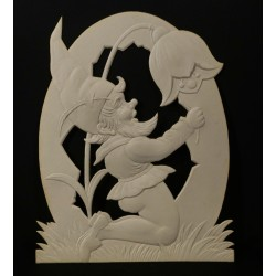Gammelt dekorationspap, nisse, mål: 48 x 40 cm.