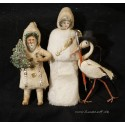 Antique cotton ornament, stork with hat and cane, h: 10,5 cm.