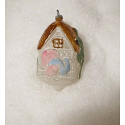 Old glass ornament, house and a turkey, h: 8 cm.