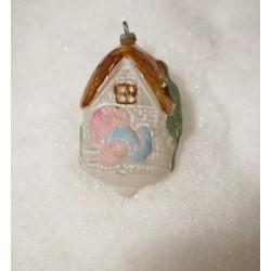 Gammelt glaspynt, hus med kalkun, h: 8 cm.
