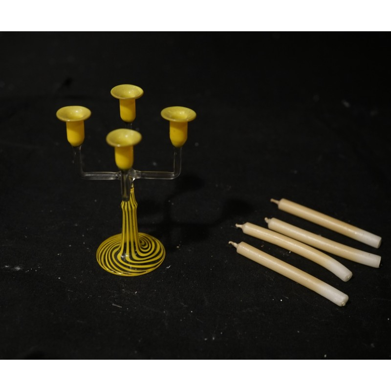 Antique four-armed candlestick, h: 8 cm (only the candlestick)