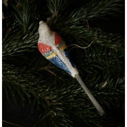 Old glass ornament, bird, hook on the back, l: 16,5 cm.