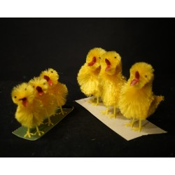 Old easter ornaments, chicken, h: 6,5 - 9,5 cm. (6x)